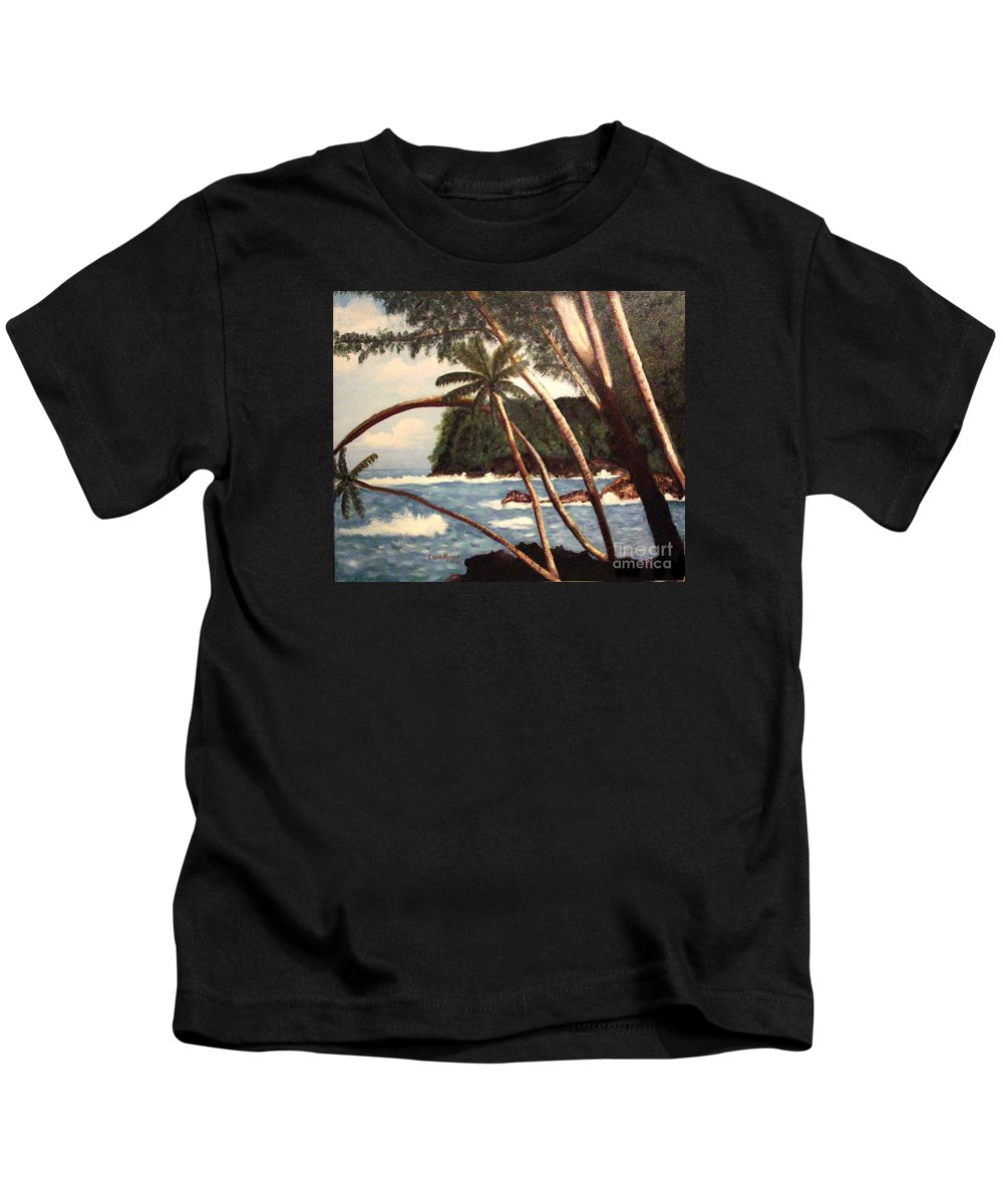 Hawaii Kids T-Shirt featuring the painting The Big Island by Laurie Morgan