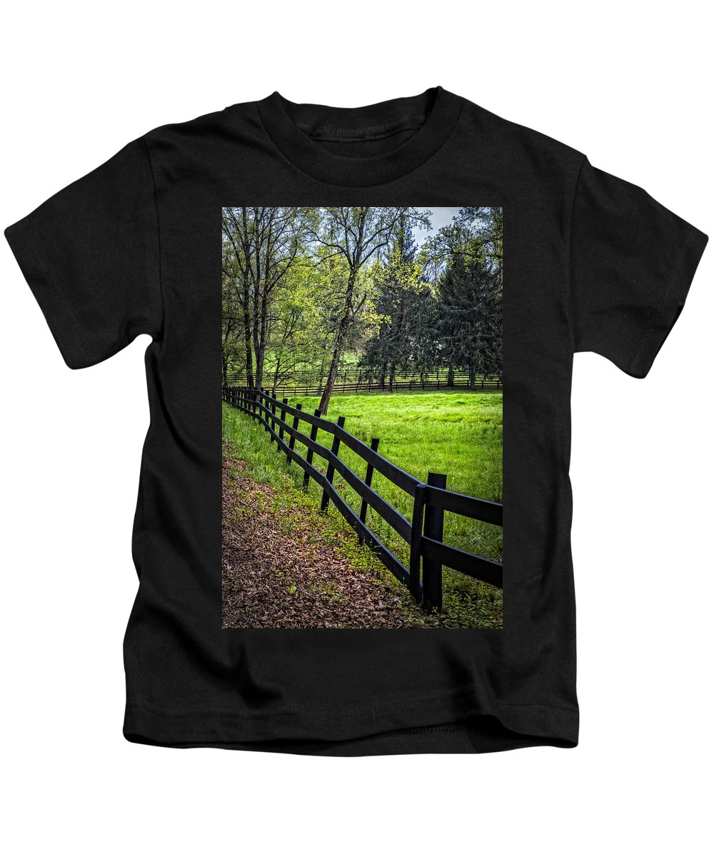 Appalachia Kids T-Shirt featuring the photograph The Black Fence by Debra and Dave Vanderlaan