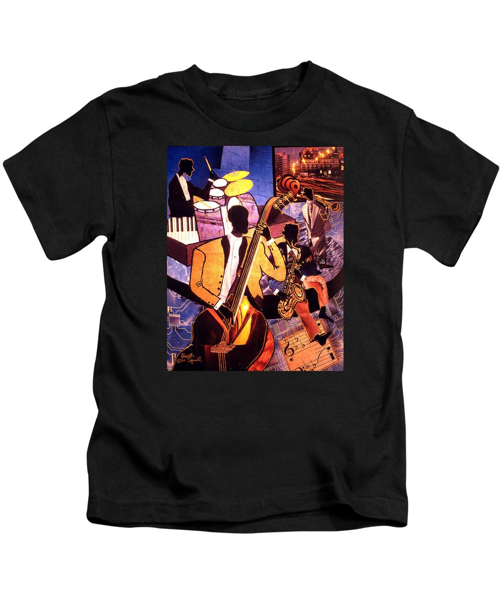 Everett Spruill Kids T-Shirt featuring the painting The Blues People by Everett Spruill