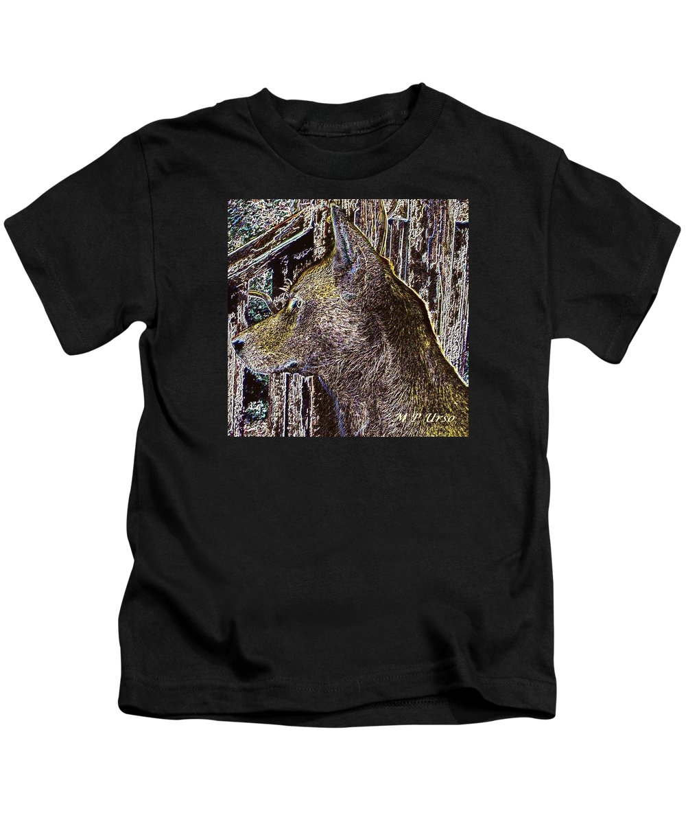The Bronze Wolf Kids T-Shirt featuring the digital art The Bronze Wolf by Maria Urso