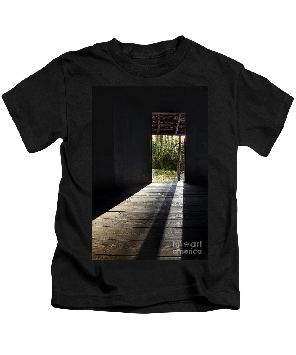 Vintage Cabin Kids T-Shirt featuring the photograph Who Left The Door Open by Michael Eingle
