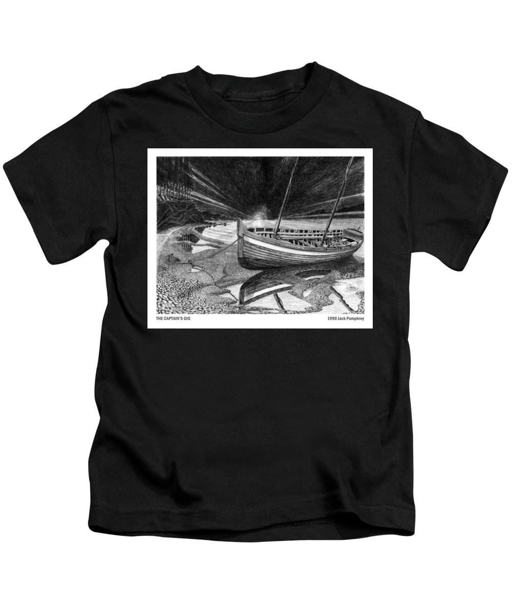 Artwork Of Yachts Kids T-Shirt featuring the drawing Captain Vancouvers Gig by Jack Pumphrey