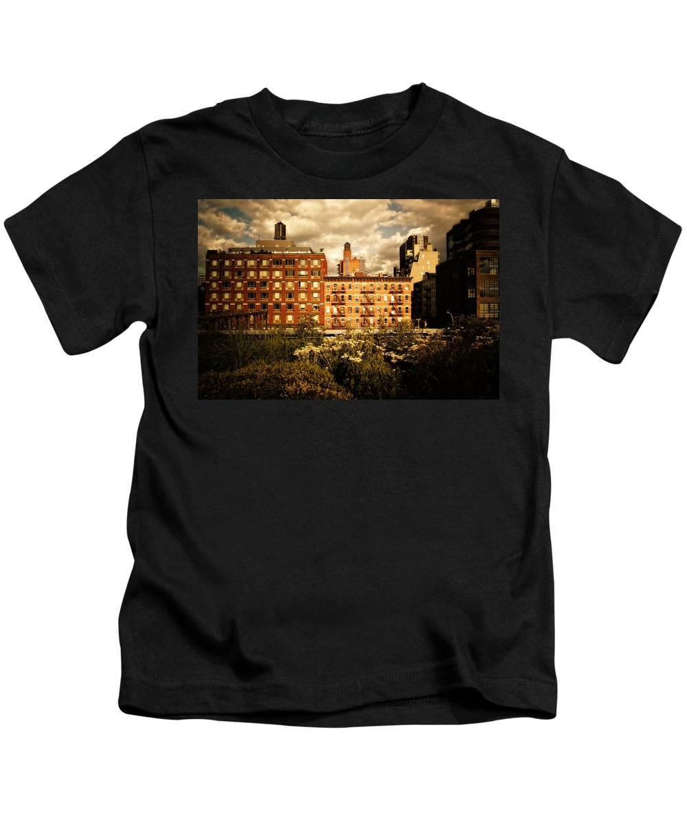 New York City Kids T-Shirt featuring the photograph The Chelsea Skyline - High Line Park - New York City by Vivienne Gucwa