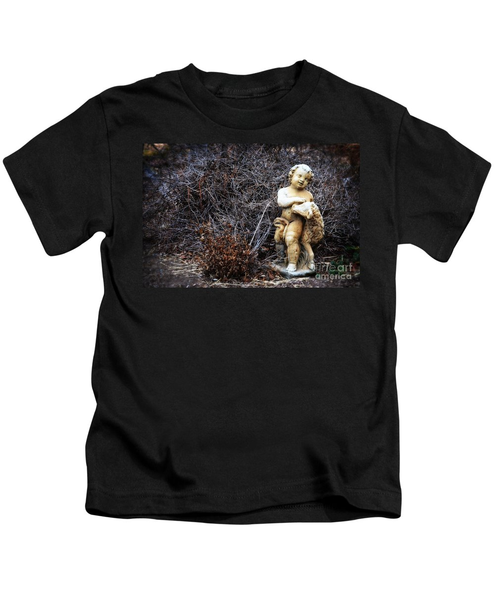 The Cherub And The Lamb Kids T-Shirt featuring the photograph The Cherub And The Lamb by Mary Machare