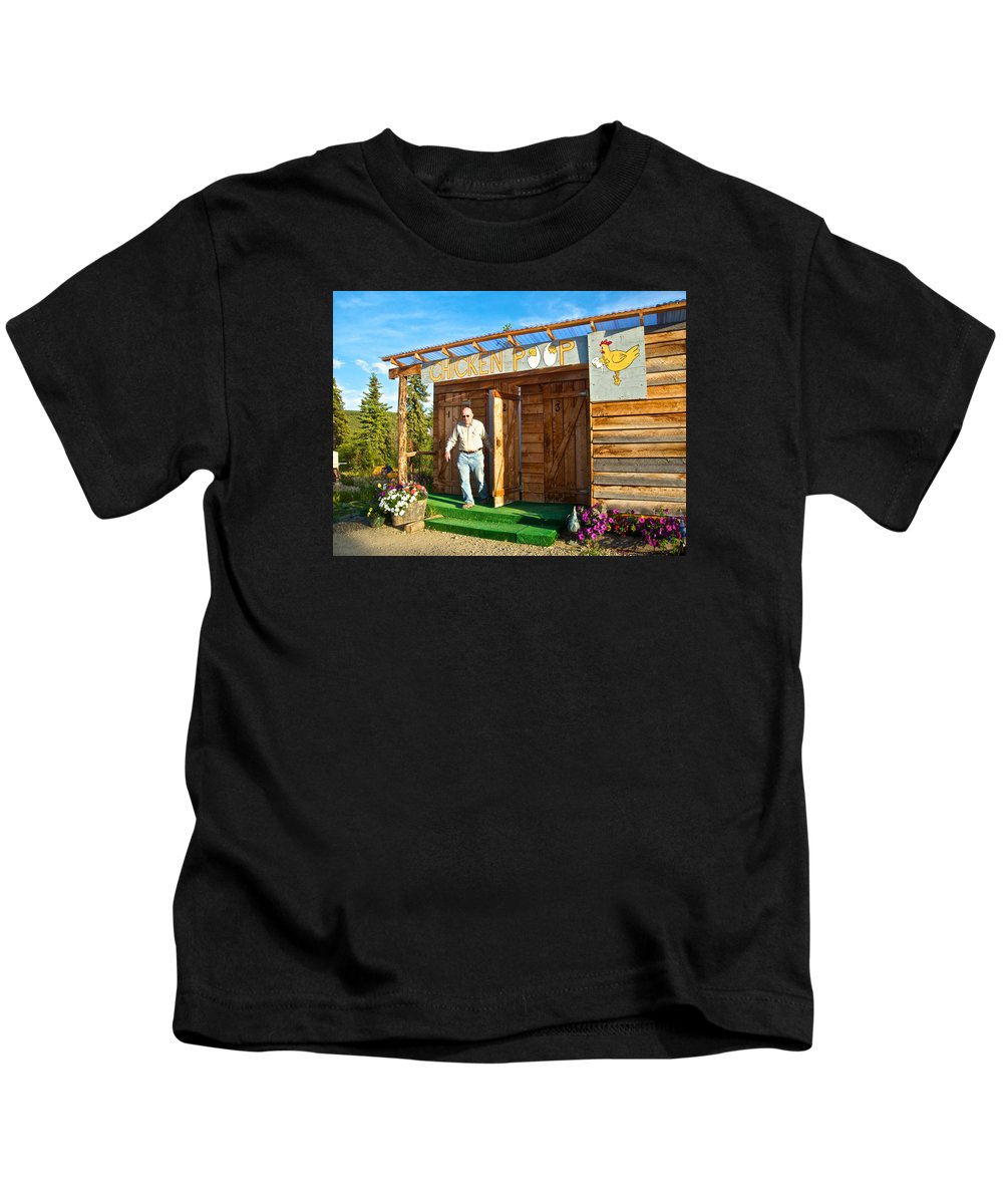 The Chicken Poop In Chicken Kids T-Shirt featuring the photograph The Chicken Poop In Chicken-alaska by Ruth Hager
