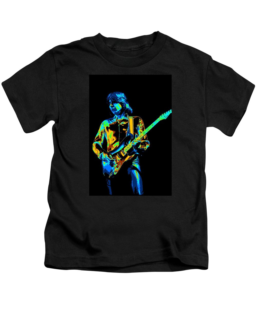 Mick Ralphs Kids T-Shirt featuring the photograph The Colorful Sound Of Mick Playing Guitar by Ben Upham