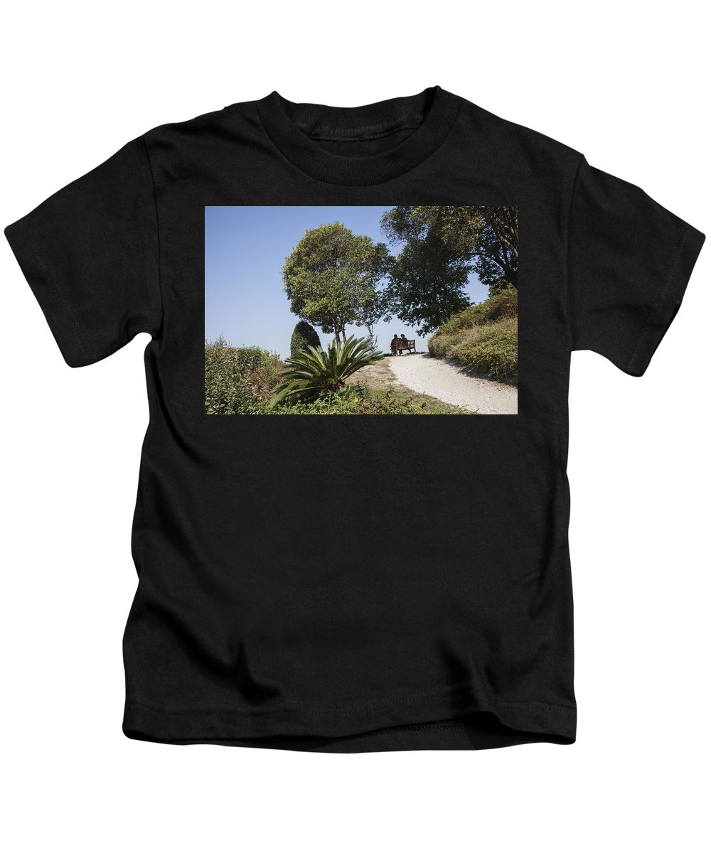 People Kids T-Shirt featuring the photograph The Conversation by Madeline Ellis