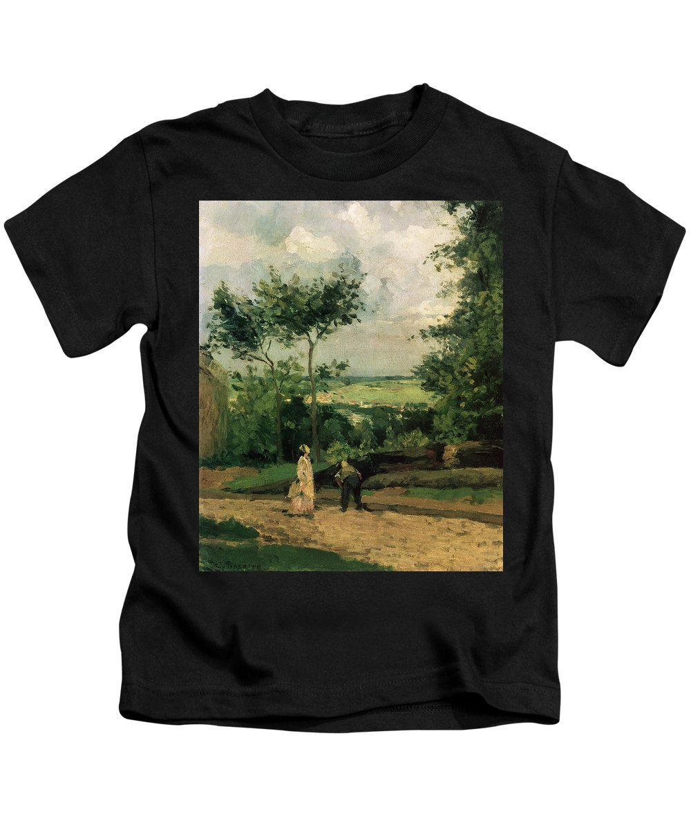 Impressionist Kids T-Shirt featuring the painting The Courtyard At Louveciennes by Camille Pissarro