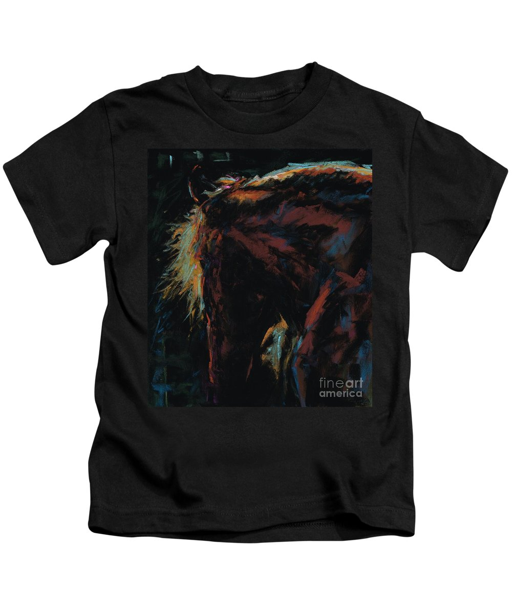 Horses Kids T-Shirt featuring the painting The Dark Horse by Frances Marino