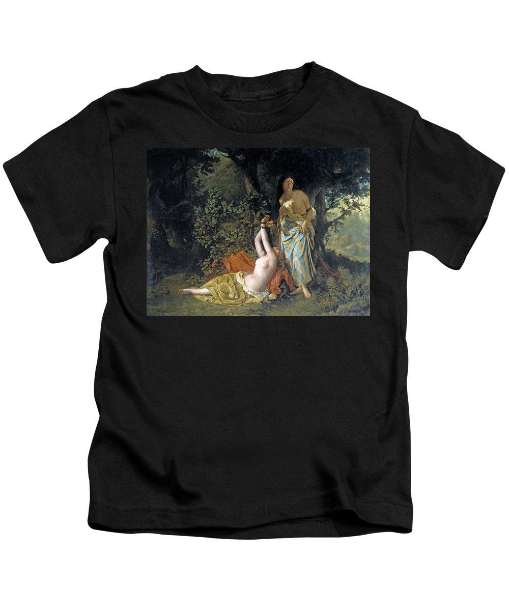 Dioscoro Teofilo Puebla Tolin Kids T-Shirt featuring the painting The Daughters Of El Cid by Dioscoro Teofilo Puebla Tolin