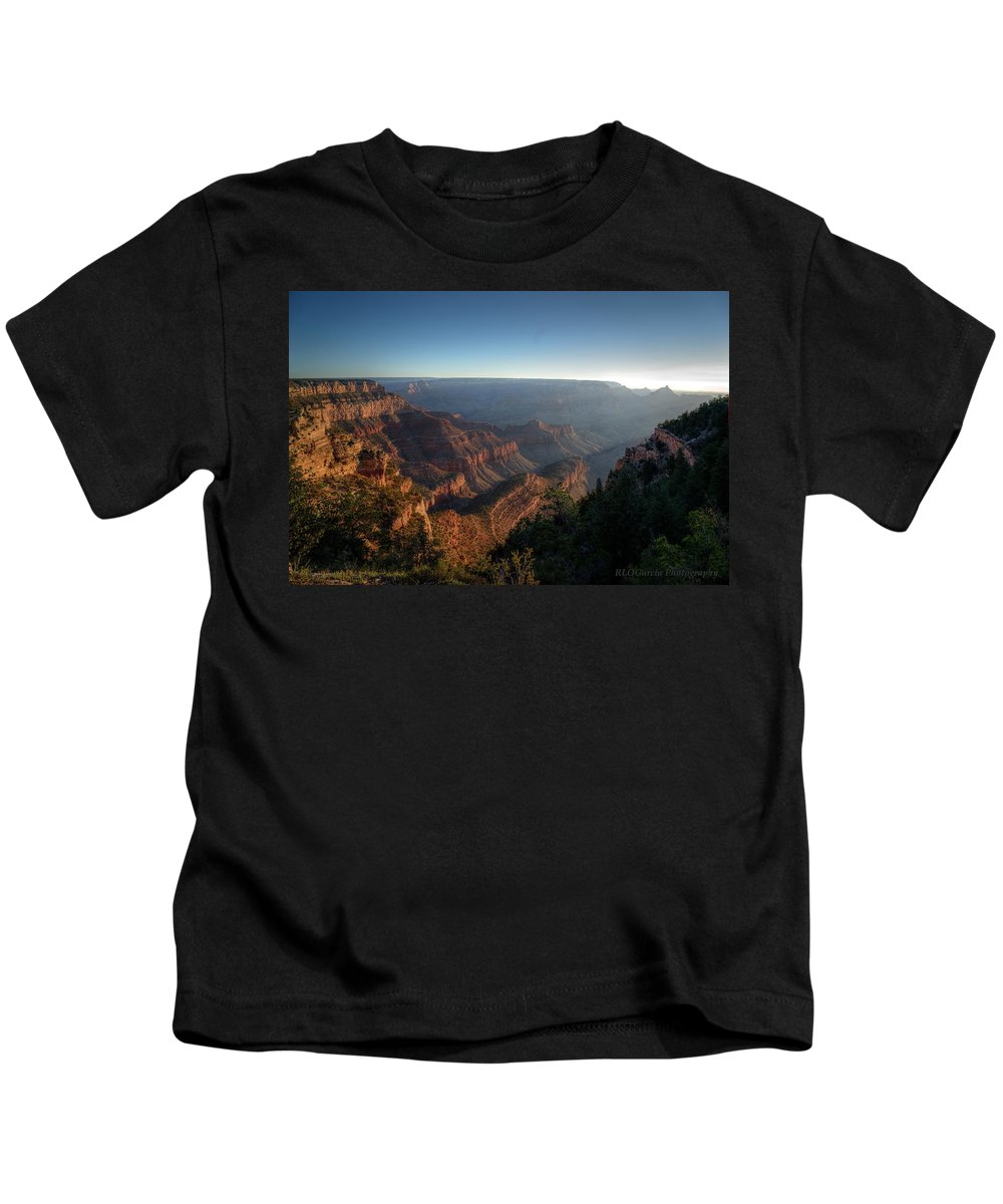 Photographs Canvas For Print Iphone Case For Sale Print For Sale Nature Arizona Grand Canyon Sunrise Landscape  Kids T-Shirt featuring the photograph The Day Begins Grand Canyon by Rafael La O Garcia