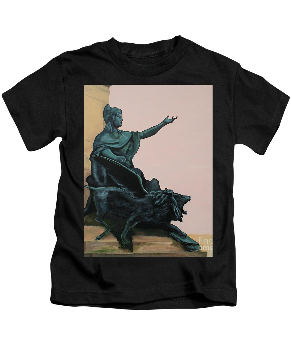 Lion Kids T-Shirt featuring the painting The Doge And Winged Lion At Venice by Robert Harris