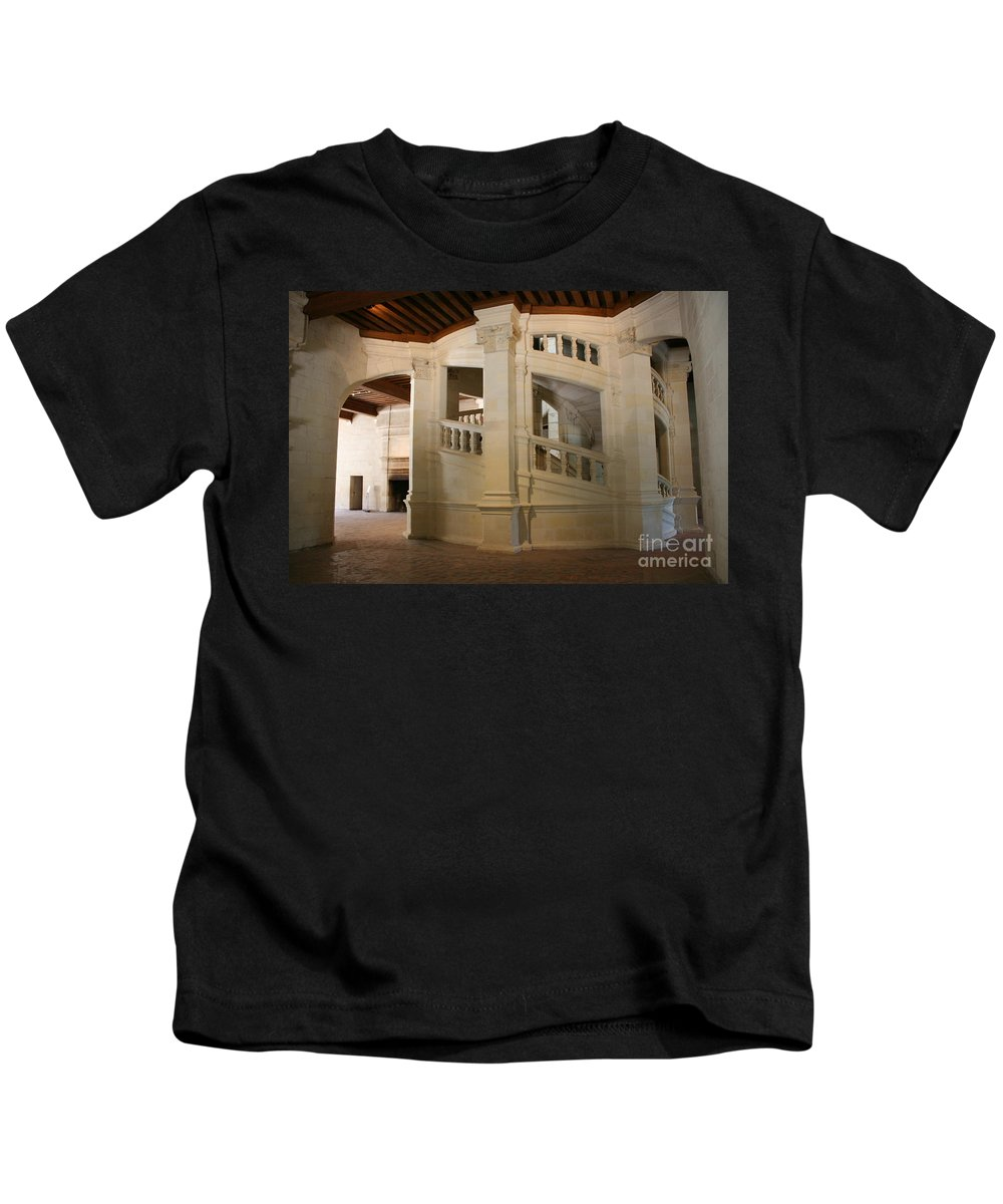 Staircase Kids T-Shirt featuring the photograph The Double-helix Staircase Chateau Chambord - France by Christiane Schulze Art And Photography