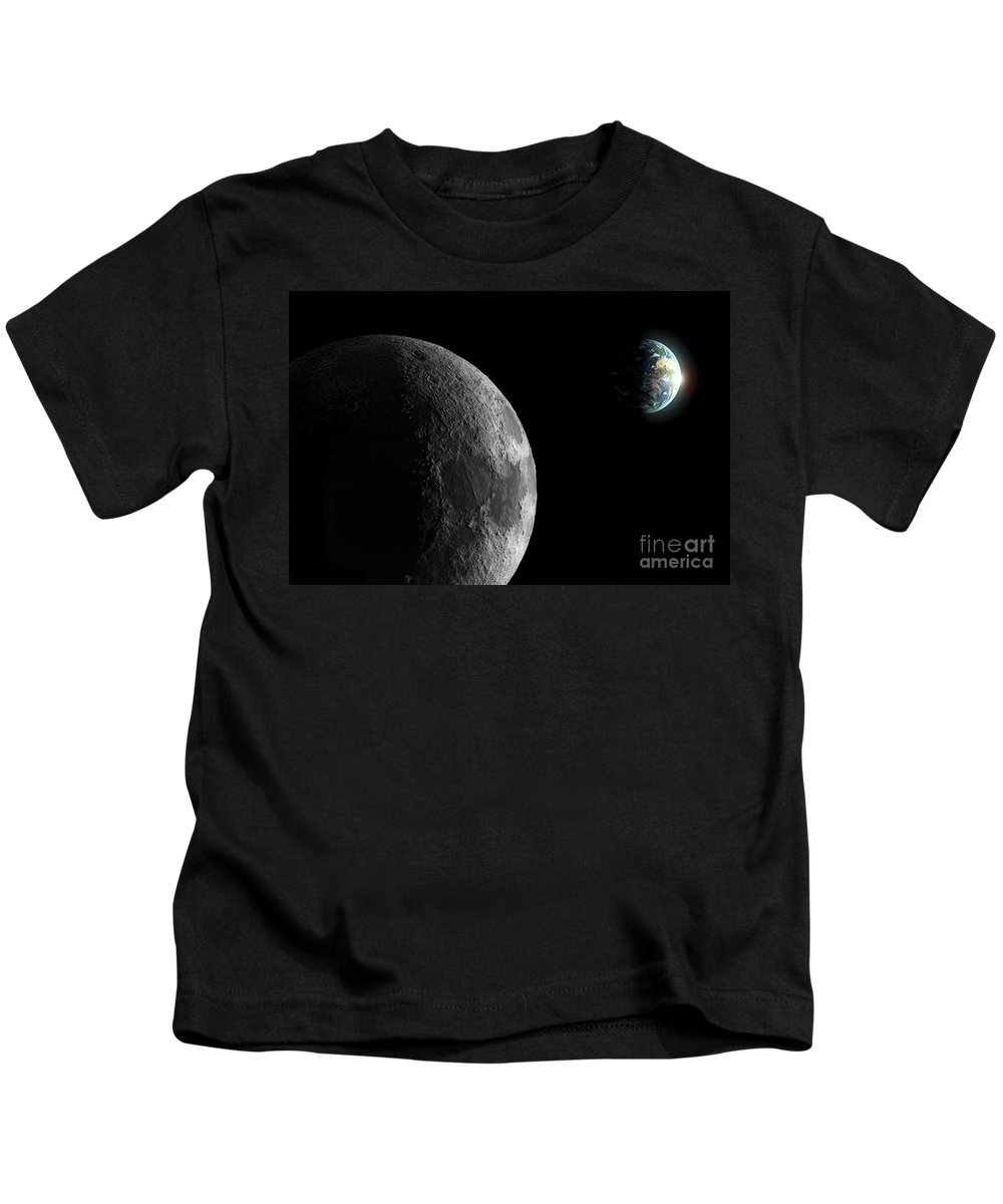 Space Kids T-Shirt featuring the photograph The Earth And Moon by Science Picture Co