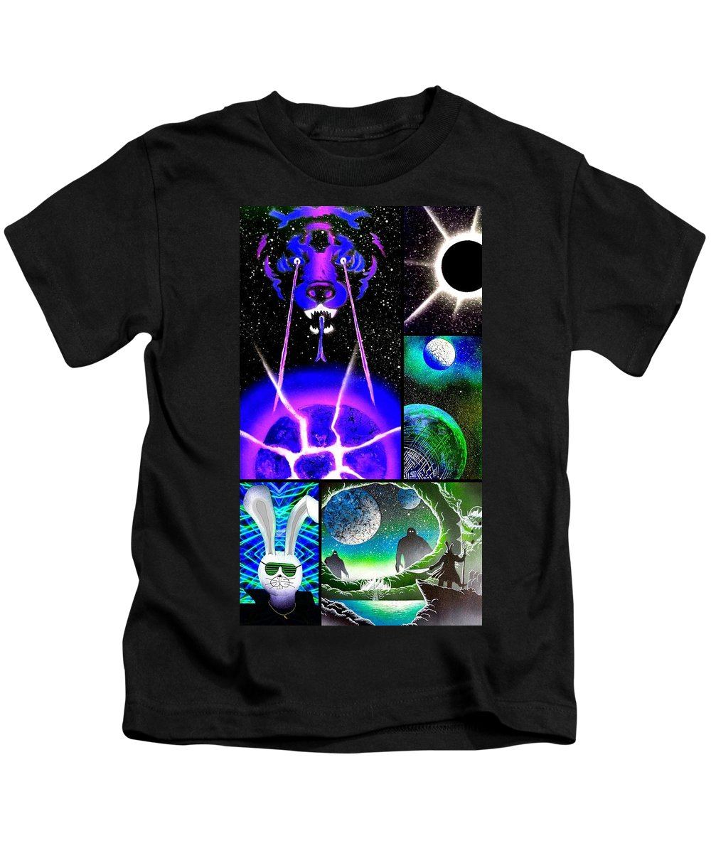 Color Kids T-Shirt featuring the painting The Epic Tail Of Stan The Bunny by Drew Goehring