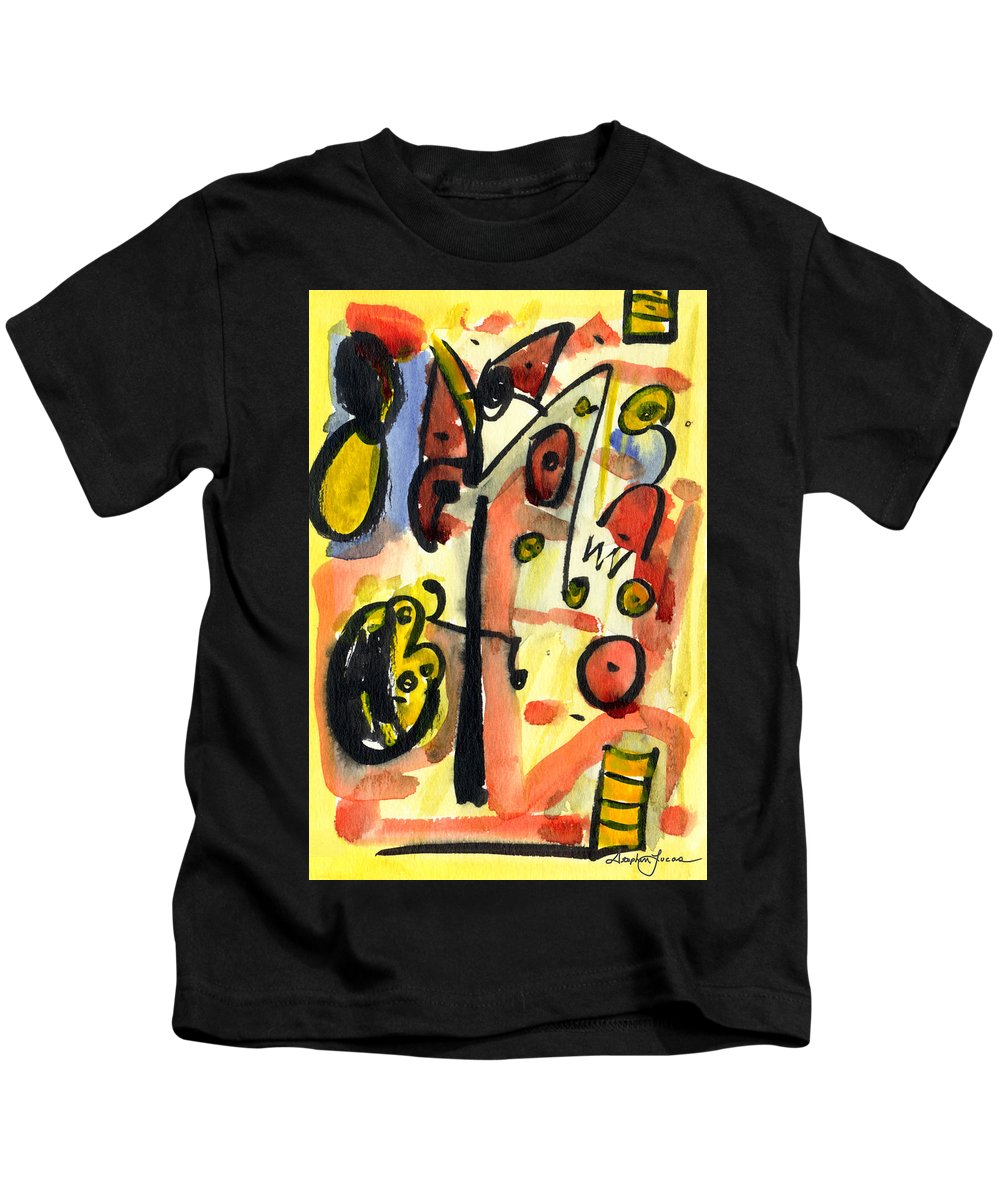Abstract Art Kids T-Shirt featuring the painting The Equation by Stephen Lucas