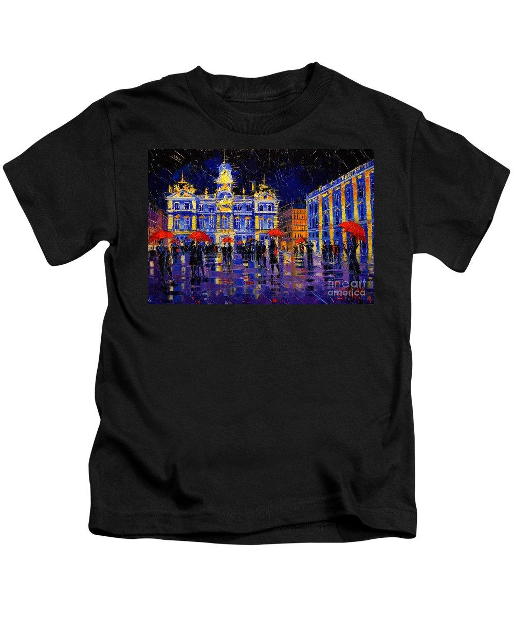 The Festival Of Lights In Lyon France Kids T-Shirt featuring the painting The Festival Of Lights In Lyon France by Mona Edulesco