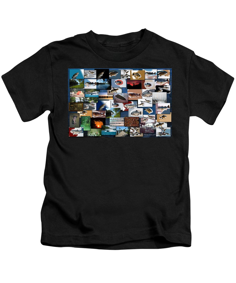 Rectangle Kids T-Shirt featuring the photograph The Fishing Hole Collage Rectangle by Thomas Woolworth