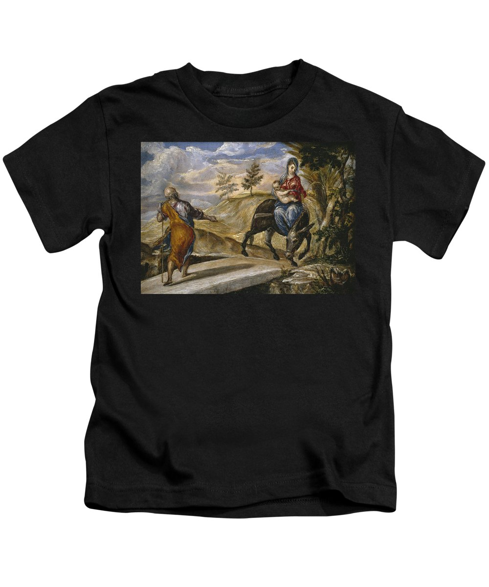 El Greco Kids T-Shirt featuring the painting The Flight Into Egypt by El Greco