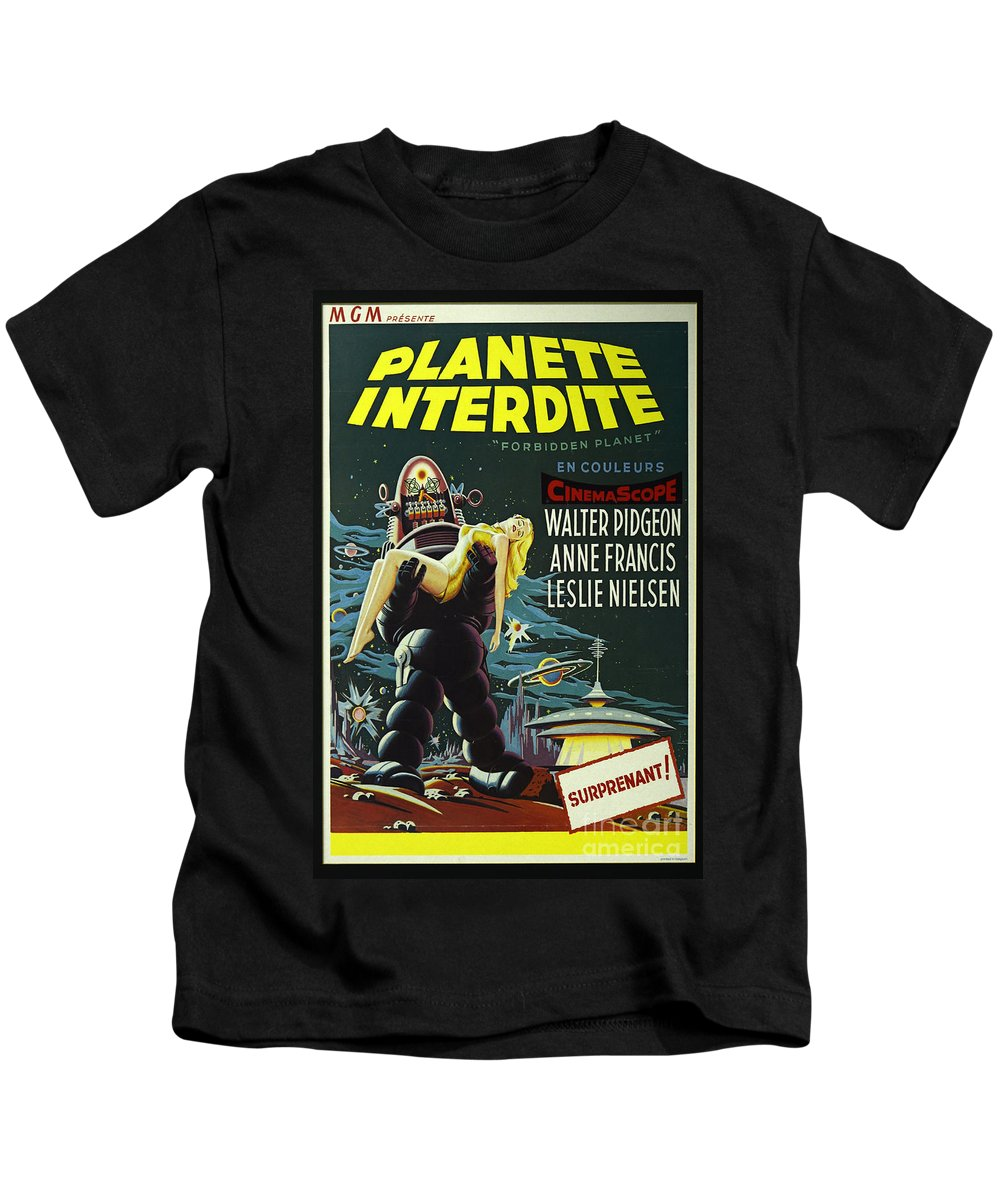 Forbidden Planet Kids T-Shirt featuring the photograph The Forbidden Planet Vintage Movie Poster by Bob Christopher