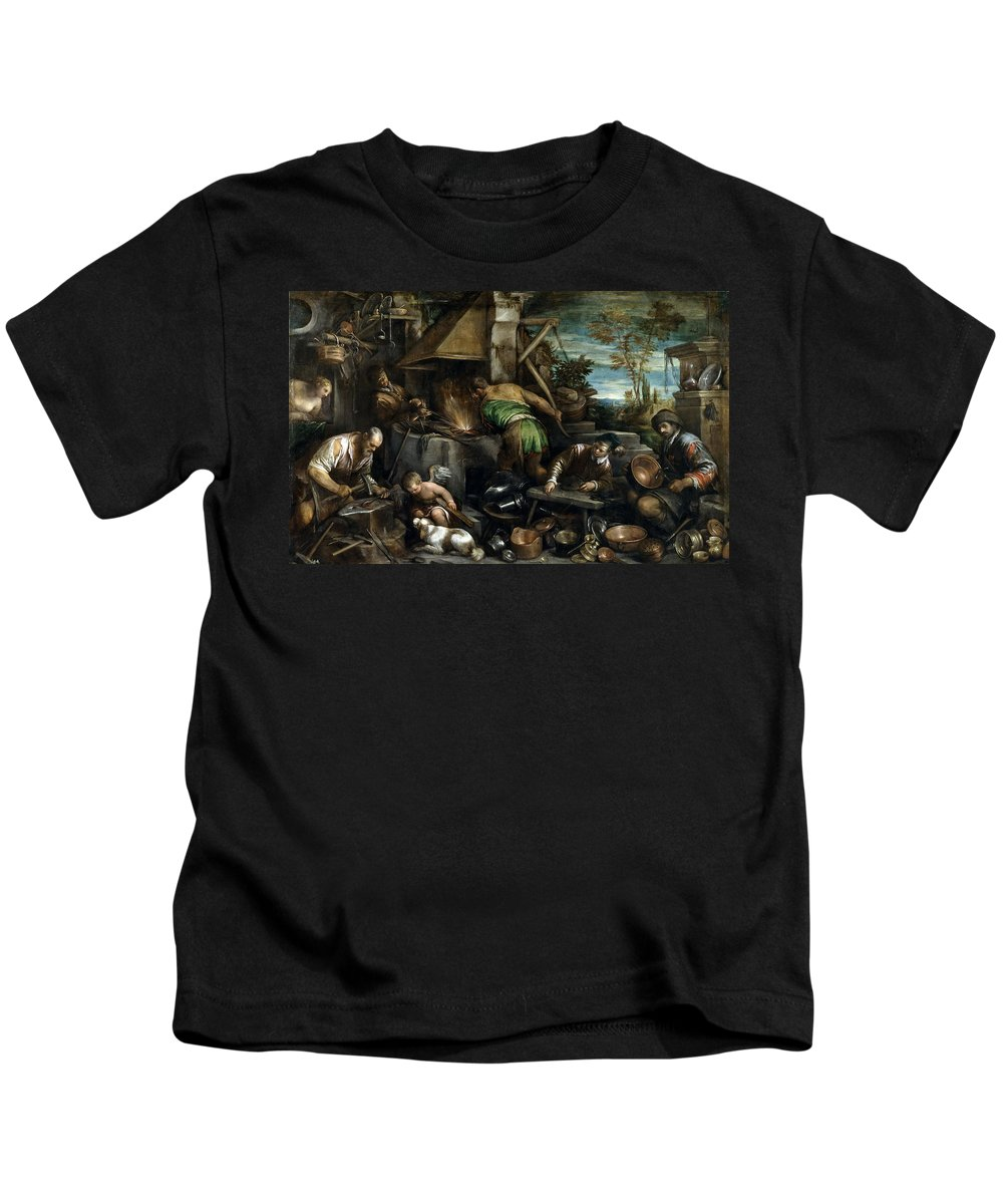 Jacopo Bassano Kids T-Shirt featuring the painting The Forge Of Vulcan by Jacopo Bassano