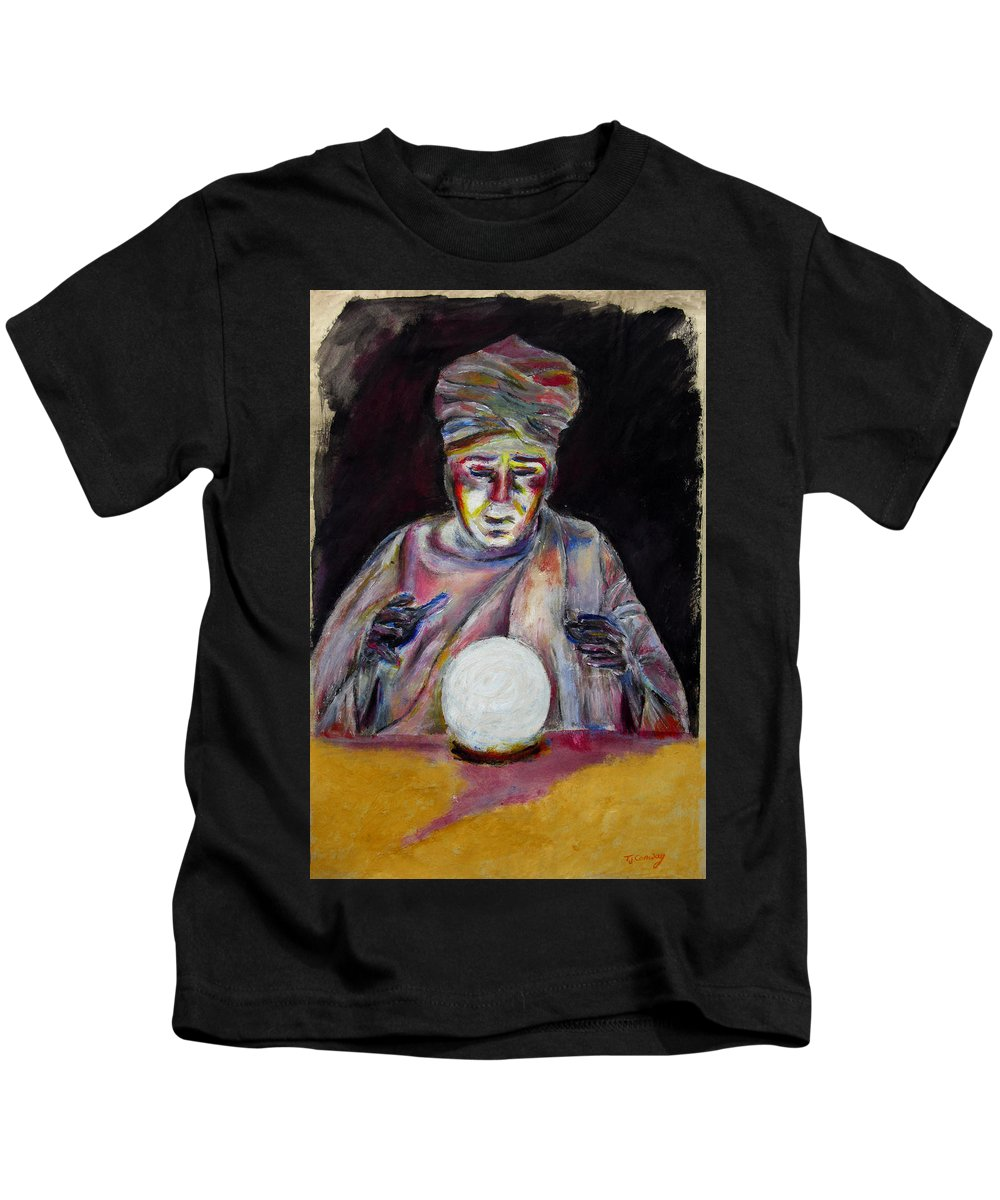 Fortune Tellers Kids T-Shirt featuring the painting The Fortune Teller by Tom Conway