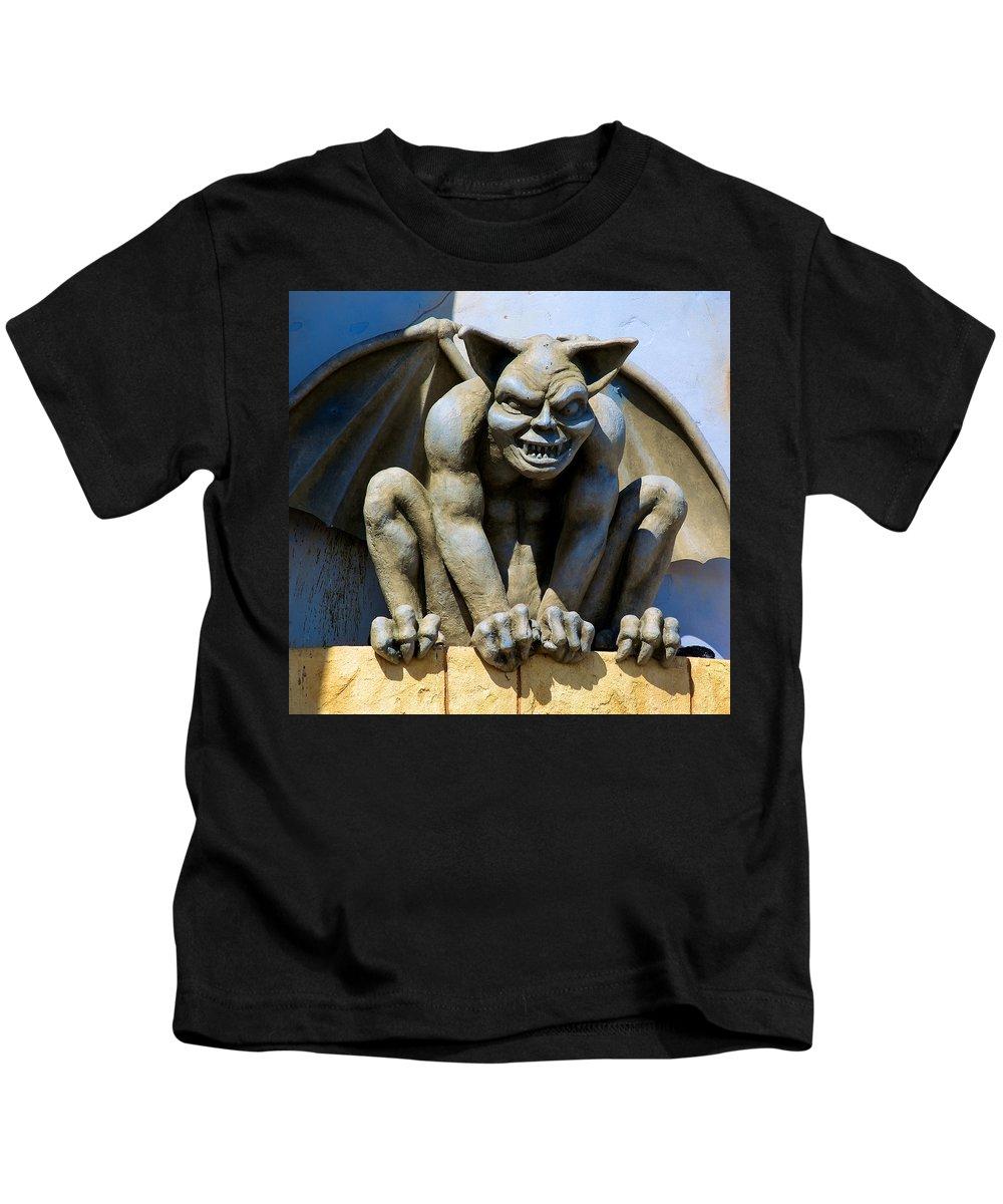 Gargoyle Kids T-Shirt featuring the photograph The Gargoyle by Richard J Cassato