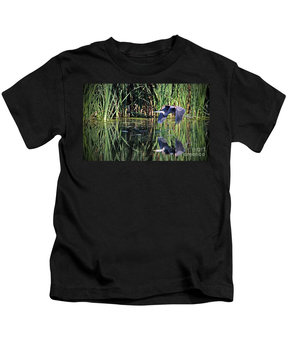Great Blue Heron Kids T-Shirt featuring the photograph The Getaway by Elizabeth Winter