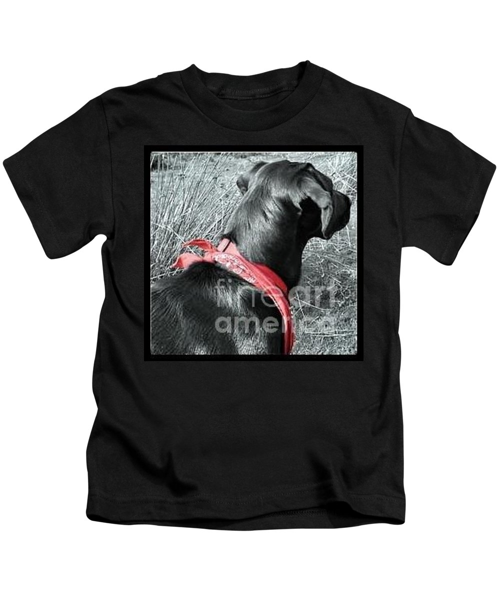 Labrador Kids T-Shirt featuring the photograph The Girl In Red by Vix Edwards