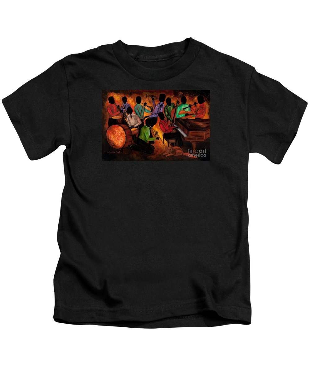 Cat Kids T-Shirt featuring the painting The Gitdown Hoedown by Larry Martin