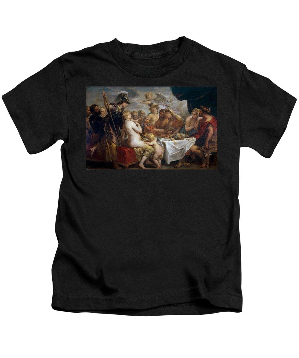 Jacob Jordaens Kids T-Shirt featuring the painting The Golden Apple Of Discord by Jacob Jordaens