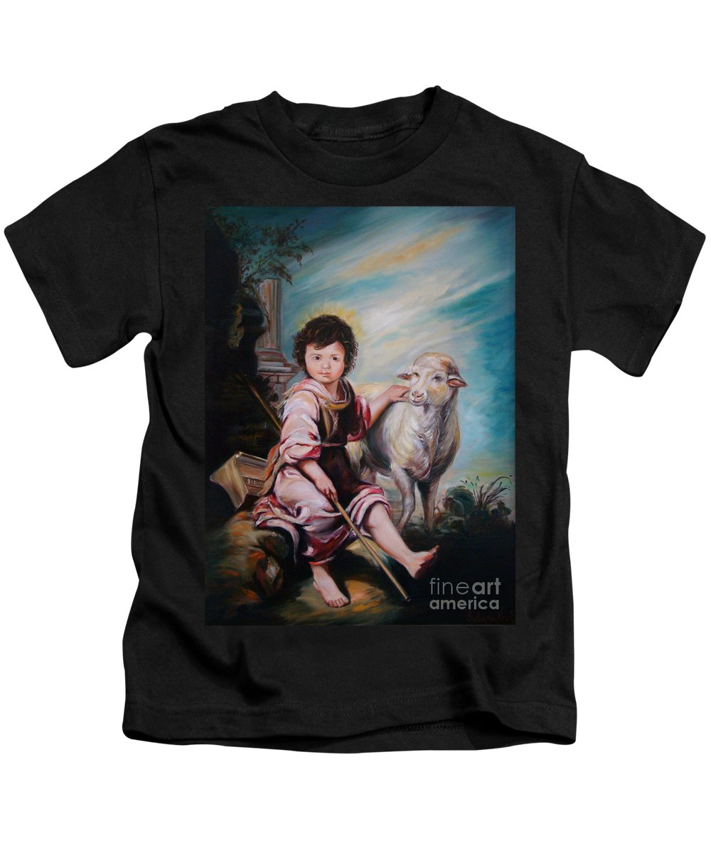 Classic Art Kids T-Shirt featuring the painting The Good Shepherd by Silvana Abel