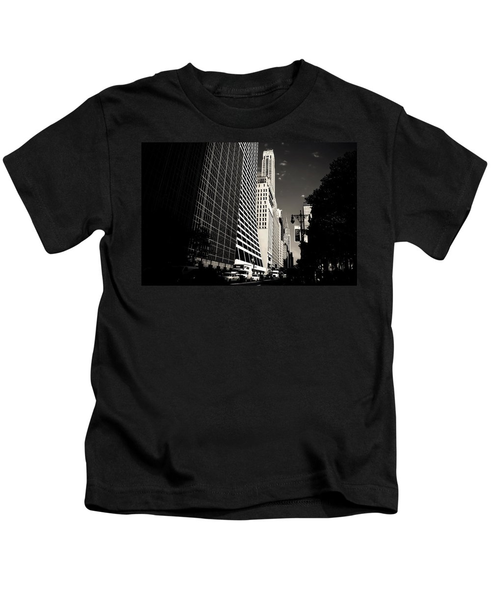 New York City Kids T-Shirt featuring the photograph The Grace Building And The Chrysler Building - New York City by Vivienne Gucwa