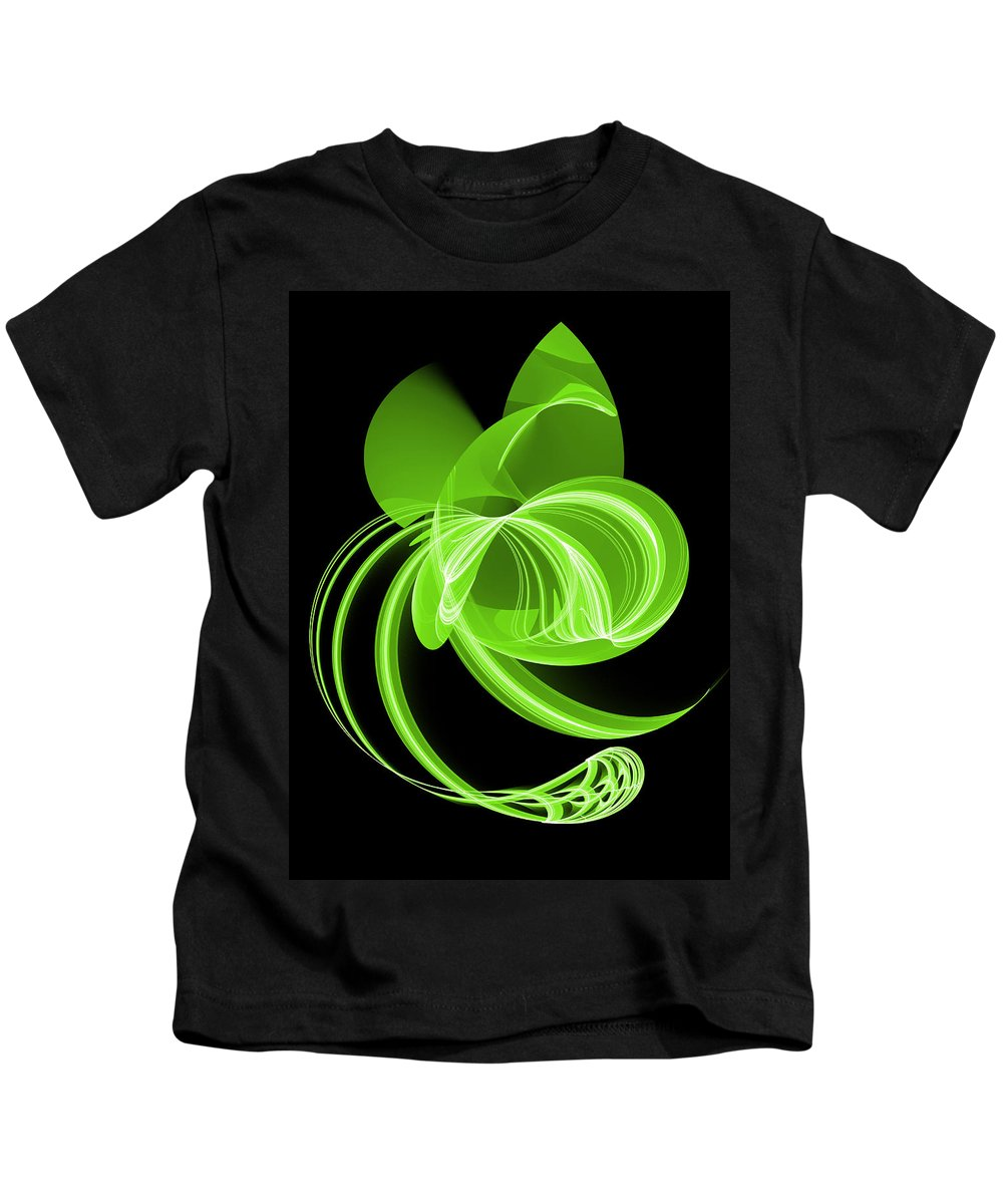 Digital Art Kids T-Shirt featuring the digital art The Green Cat by Gabiw Art