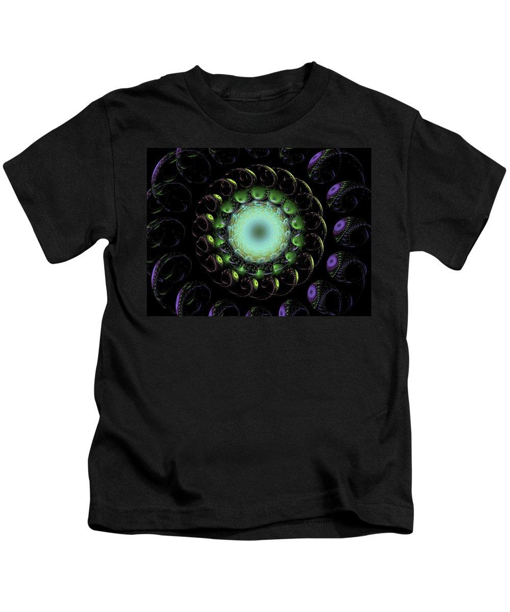 Fractal Art Kids T-Shirt featuring the digital art The Green Hole by Richard J Cassato