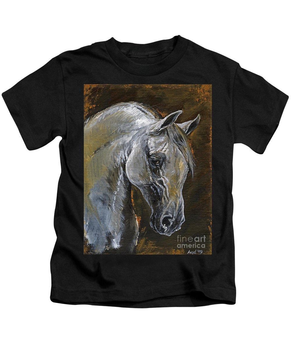 Grey Horse Kids T-Shirt featuring the painting The Grey Arabian Horse Oil Painting by Angel Ciesniarska