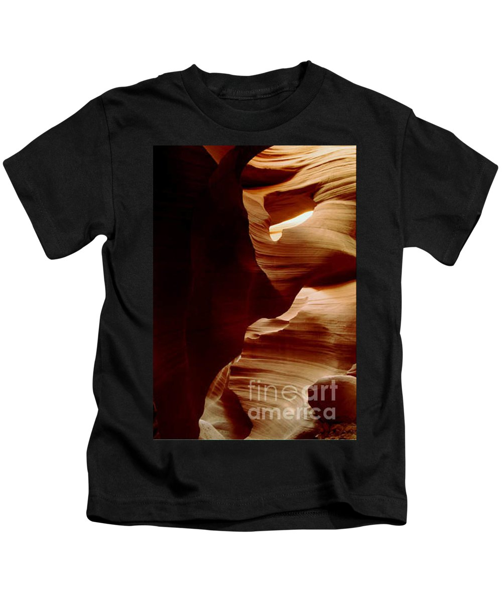 Landscape Kids T-Shirt featuring the photograph The Heart Of Antelope Canyon by Kathy McClure