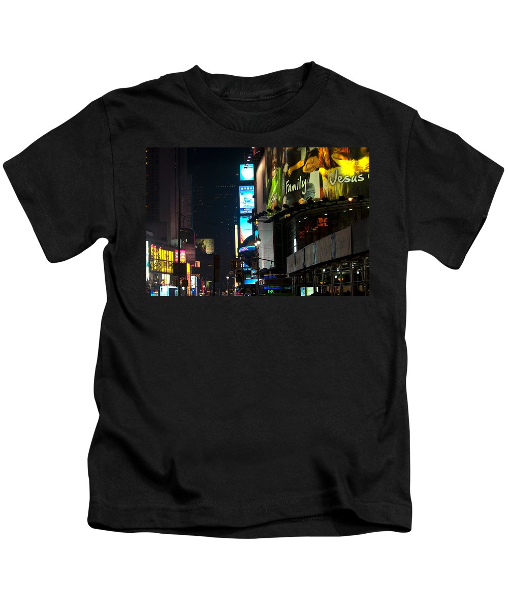 """new York City"" Kids T-Shirt featuring the photograph The Holidays In Time Square by Paul Mangold"