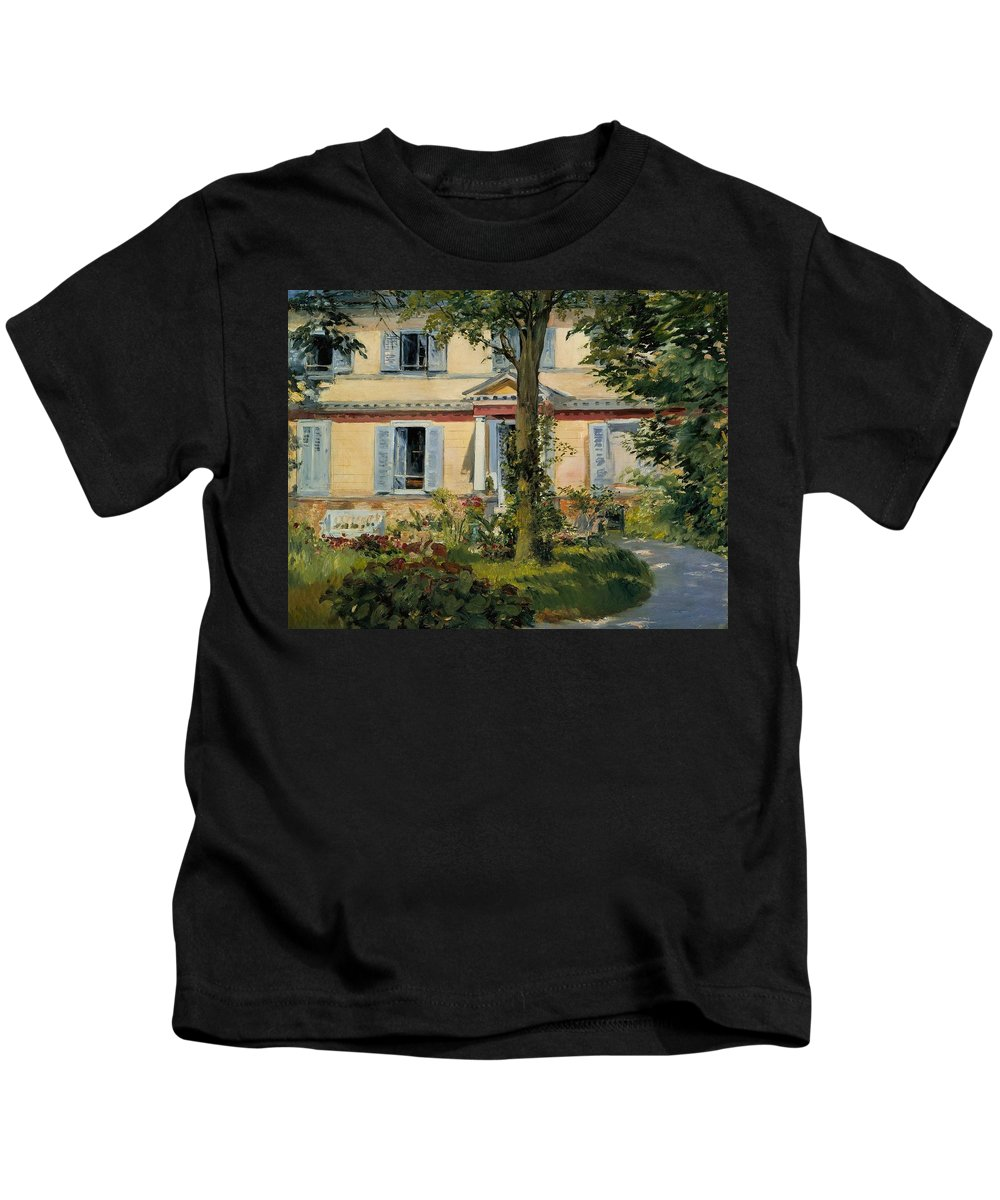 1882 Kids T-Shirt featuring the painting The House At Rueil by Edouard Manet