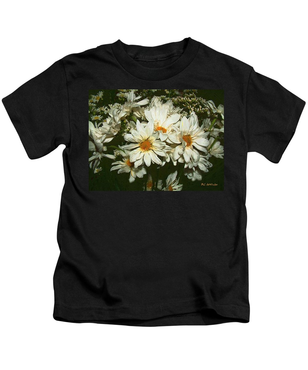 Bouquet Kids T-Shirt featuring the painting The Infinite Shades Of White by RC DeWinter