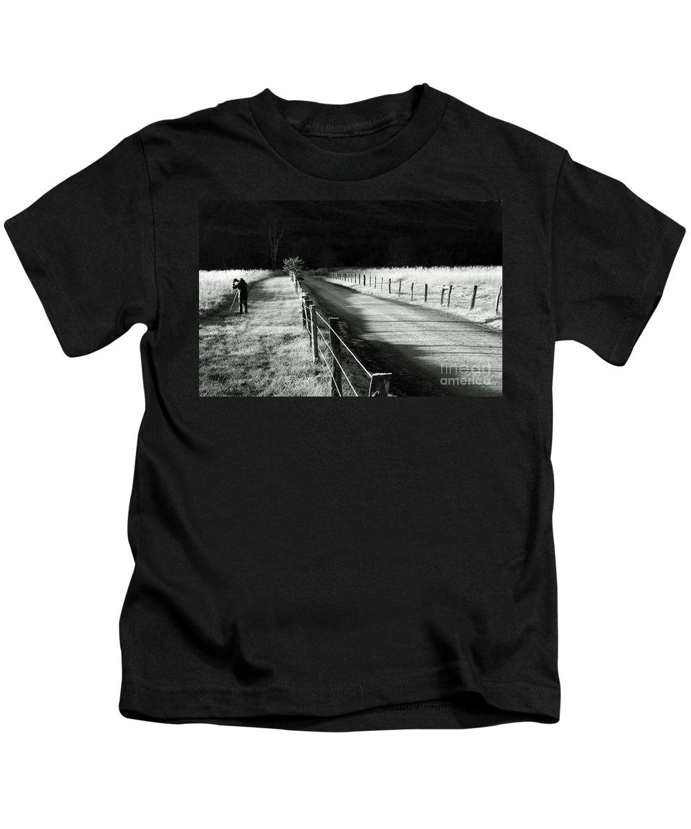 Sparks Lane Kids T-Shirt featuring the photograph The Lone Photographer by Douglas Stucky