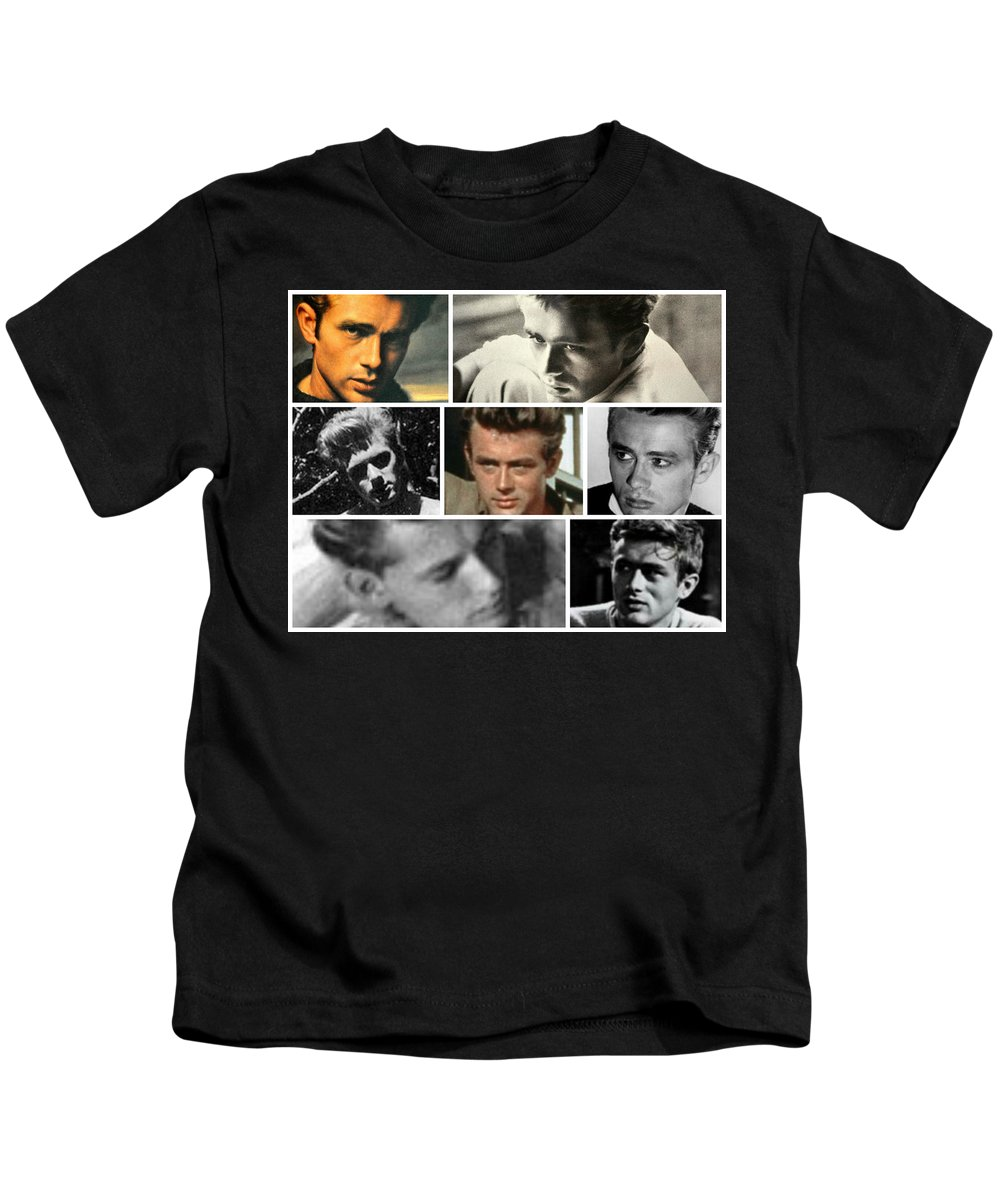 James Dean Kids T-Shirt featuring the photograph James Dean The Many Faces by Jay Milo