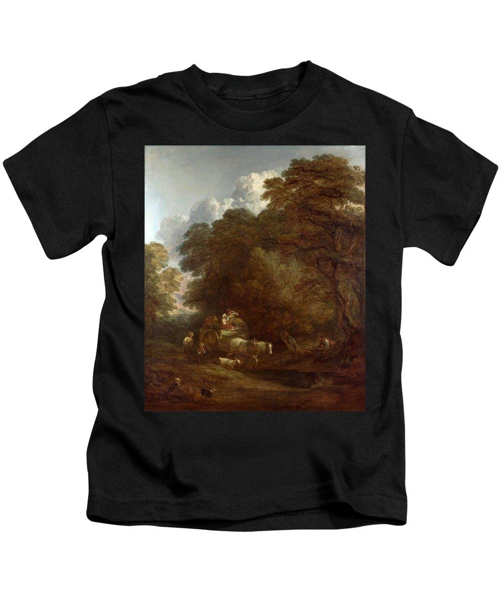 Thomas Gainsborough Kids T-Shirt featuring the painting The Market Cart by Thomas Gainsborough