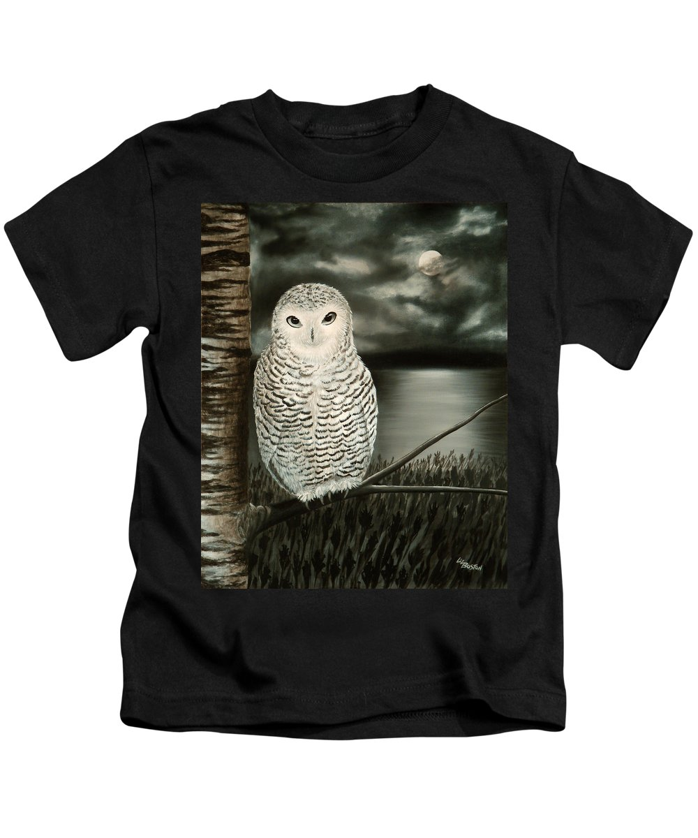 Owl Kids T-Shirt featuring the painting The Marsh At Night by Liz Boston