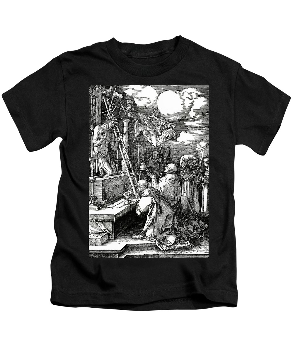 Kneeling Kids T-Shirt featuring the painting The Mass Of St. Gregory by Albrecht Duerer
