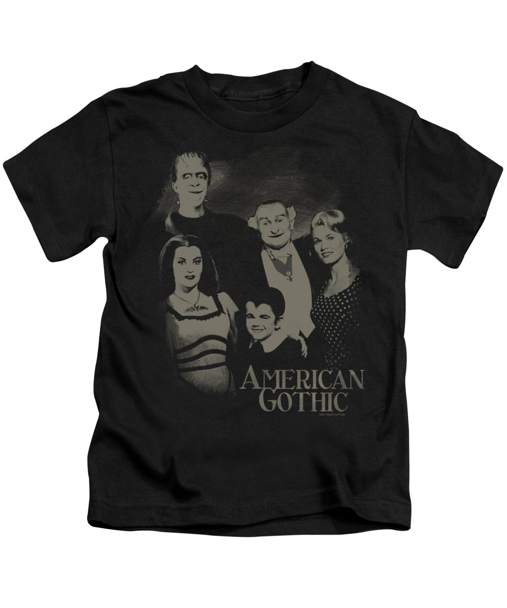 The Munsters Kids T-Shirt featuring the digital art The Munsters - American Gothic by Brand A