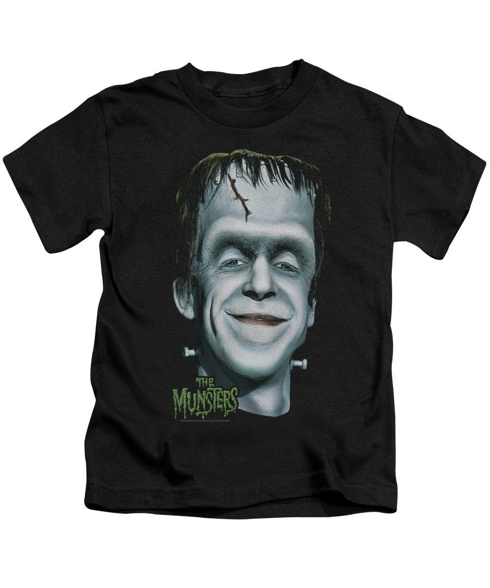The Munsters Kids T-Shirt featuring the digital art The Munsters - Herman's Head by Brand A