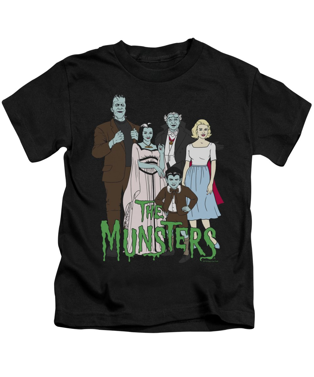 The Munsters Kids T-Shirt featuring the digital art The Munsters - The Family by Brand A
