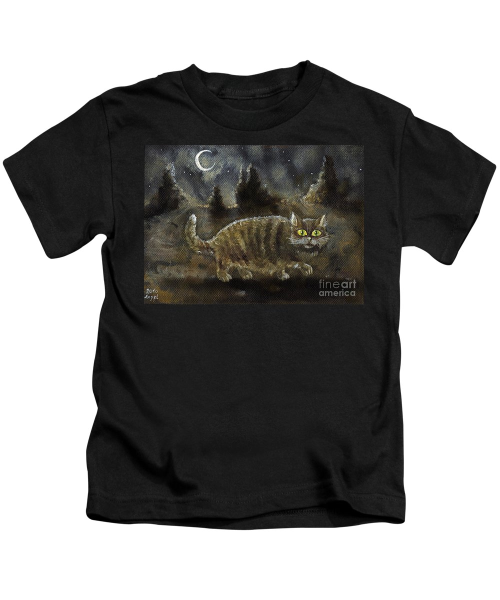 Cat Kids T-Shirt featuring the painting The Night Stalker by Angel Ciesniarska