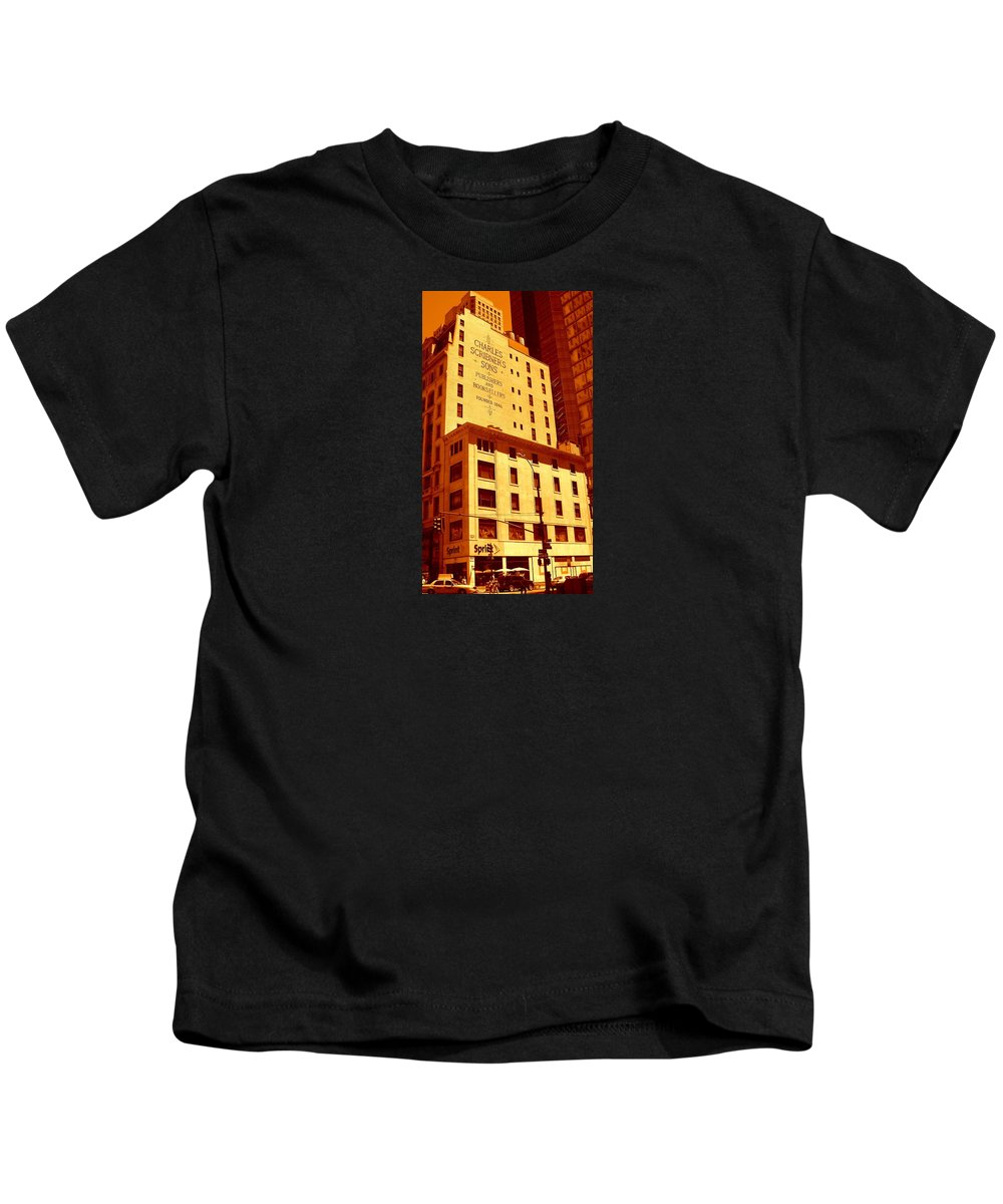 Manhattan Building Canvas Kids T-Shirt featuring the photograph The Old Good Days In Manhattan by Monique's Fine Art